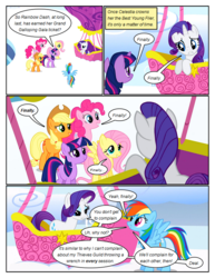 Size: 612x792 | Tagged: artist:newbiespud, cloud, comic, comic:friendship is dragons, dialogue, earth pony, edited screencap, female, flying, freckles, frown, grin, hat, hot air balloon, looking down, looking up, mare, on a cloud, pegasus, pony, sad, safe, screencap, screencap comic, smiling, sonic rainboom (episode), twilight sparkle, unicorn, unicorn twilight