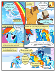 Size: 612x792 | Tagged: applejack, artist:newbiespud, clothes, cloud, comic, comic:friendship is dragons, dialogue, dumbbell, earth pony, edited screencap, female, freckles, goggles, hat, hoops, male, mare, misty fly, on a cloud, pegasus, pony, rainbow, rainbow dash, raised hoof, safe, screencap, screencap comic, soarin', spitfire, stallion, uniform, wonderbolts, wonderbolts uniform