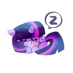 Size: 2048x2048   Tagged: safe, artist:talimingi, twilight sparkle, alicorn, pony, chibi, curled up, cute, eyes closed, female, lineless, mare, prone, simple background, sleeping, solo, speech bubble, twiabetes, twilight sparkle (alicorn), white background