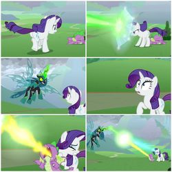 Size: 2896x2896 | Tagged: safe, edit, screencap, queen chrysalis, rarity, spike, dragon, pony, season 9, the ending of the end, leak, attack, blast, collage, defending, female, firebreathing, magic, magic beam, magic blast, male, shield, ultimate chrysalis, winged spike, wings