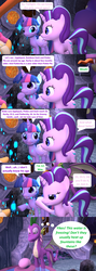 Size: 1920x5400 | Tagged: safe, artist:red4567, applejack, fluttershy, granny smith, pinkie pie, rainbow dash, rarity, spike, starlight glimmer, twilight sparkle, alicorn, dragon, pony, comic:i must regress, 3d, adult, adult spike, age progression, age regression, baby, comic, female, filly, foal, fountain of aging, fountain of youth, giant spike, horn, mane six, older, older spike, shrinking, source filmmaker, spikezilla, temple, tongue out, twilight sparkle (alicorn), winged spike, winged spikezilla, young granny smith, younger