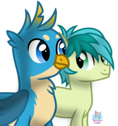 Size: 1007x1080 | Tagged: artist:rainbow eevee, earth pony, gallus, griffon, looking at each other, male, safe, sandbar, simple background, solo, transparent background