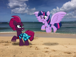 Size: 3264x2448 | Tagged: safe, artist:ejlightning007arts, fizzlepop berrytwist, tempest shadow, twilight sparkle, alicorn, pony, unicorn, beach, bikini, broken horn, clothes, cute, equestria girls outfit, eye scar, female, flying, hawaii, horn, lesbian, ocean, open mouth, running, scar, shipping, swimsuit, tempestlight, twilight sparkle (alicorn)