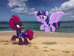 Size: 3264x2448 | Tagged: safe, alternate version, artist:ejlightning007arts, edit, fizzlepop berrytwist, tempest shadow, twilight sparkle, alicorn, pony, unicorn, beach, bikini, broken horn, clothes, cute, equestria girls outfit, eye scar, female, flying, hawaii, horn, lesbian, ocean, open mouth, running, scar, shipping, swimsuit, tempestlight, twilight sparkle (alicorn)