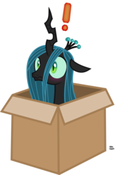 Size: 1417x2151 | Tagged: safe, artist:anime-equestria, queen chrysalis, changeling, changeling queen, blushing, box, cardboard box, caught, changeling in a box, changelings in the comments, cute, cutealis, exclamation point, female, metal gear, simple background, solo, transparent background, vector