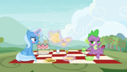 Size: 1920x1080 | Tagged: apple tree, basket, blushing, blush sticker, cup, edit, edited screencap, female, food, gem, male, muffin, picnic, picnic basket, picnic blanket, safe, sandwich, screencap, shipping, spike, spixie, spoiler:s09e11, straight, student counsel, tea, teacup, teapot, tree, trixie