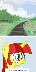 Size: 900x1800 | Tagged: artist:aaronmk, cloud, cloudy, comic, freckles, glasses, mountain, oc, oc:lefty pony, railroad, safe, speech bubble, television, text, train, unicorn oc, vector