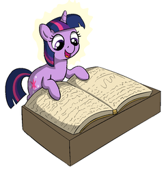 Size: 793x816 | Tagged: safe, artist:heretichesh, twilight sparkle, pony, unicorn, big book, book, cutie mark, drawthread, female, filly, filly twilight sparkle, reading, smiling, that pony sure does love books, younger