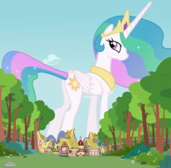 Size: 3840x3785   Tagged: safe, princess celestia, alicorn, pony, butt, crown, ethereal mane, female, giant pony, giantlestia, houses, jewelry, macro, mare, mega celestia, plot, ponyville, regalia, sunbutt, tree