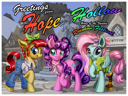 Size: 5698x4253   Tagged: safe, artist:harwick, kerfuffle, petunia petals, torque wrench, earth pony, pegasus, pony, rainbow roadtrip, absurd resolution, amputee, building, cutie mark, digital art, female, hope hollow, looking at you, mare, overalls, postcard, prosthetic leg, prosthetic limb, prosthetics, raised hoof, scenery, smiling, text, town, trio, trio female, village