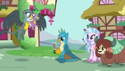 Size: 1920x1080 | Tagged: safe, screencap, gabby, gallus, silverstream, spike, yona, classical hippogriff, dragon, griffon, hippogriff, yak, dragon dropped, bow, camera, cloven hooves, colored hooves, cute, diastreamies, female, flying, gabbybetes, gallabetes, hair bow, jewelry, male, monkey swings, necklace, photo, saddle bag, winged spike, yonadorable
