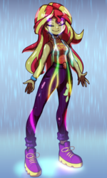 Size: 1200x2000 | Tagged: safe, artist:rockset, sunset shimmer, equestria girls, equestria girls series, let it rain, spoiler:eqg series (season 2), clothes, cute, cutie mark on clothes, eyes closed, female, geode of empathy, magical geodes, music video, pants, rain, scene interpretation, shimmerbetes, smiling, solo
