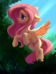 Size: 1500x2000   Tagged: safe, artist:vensual99, fluttershy, pegasus, pony, colored hooves, crepuscular rays, cute, ear fluff, female, floppy ears, flying, leg fluff, mare, rcf community, shyabetes, solo, tree