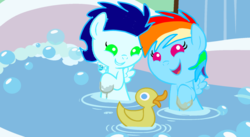 Size: 1280x700 | Tagged: safe, artist:mlplary6, rainbow dash, soarin', pegasus, pony, bath, bubble, colt, cute, dashabetes, female, foal, male, rubber duck, shipping, soarinbetes, soarindash, straight, younger