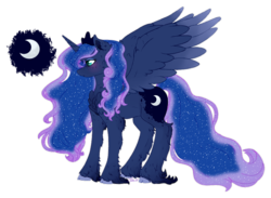 Size: 1024x749   Tagged: safe, artist:dreamilil, princess luna, alicorn, pony, blushing, cheek fluff, chest fluff, cloven hooves, cute, cutie mark, ear fluff, ethereal mane, female, fluffy, freckles, leg fluff, lunabetes, mare, neck fluff, profile, simple background, solo, spread wings, starry mane, transparent background, unshorn fetlocks, white outline, wing fluff, wings