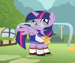 Size: 482x408 | Tagged: alicorn, artist:user15432, bow, bowtie, clothes, dressup, dressup game, glasses, pony, safe, schoolgirl, school uniform, shoes, socks, starsue, twilight sparkle, twilight sparkle (alicorn), uniform