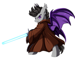 Size: 2969x2386 | Tagged: artist:pridark, bat pony, bat pony oc, clothes, crossover, disney, high res, jedi, lightsaber, male, oc, oc only, safe, simple background, solo, star wars, transparent background, weapon