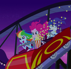 Size: 880x851 | Tagged: equestria girls, food, perfect day for fun, pinkie pie, popcorn, rainbow dash, rainbow rocks, rarity, rollercoaster, roller coaster, safe, screencap