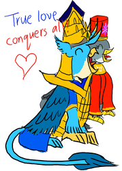 Size: 1000x1400 | Tagged: safe, artist:horsesplease, gabby, gallus, behaving like a rooster, crowing, crown, emperor, empress, female, gabbus, gallus the rooster, helmet, jewelry, king gallus, male, queen gabby, rabydosverse, regalia, robes, shipping, straight, vozonid