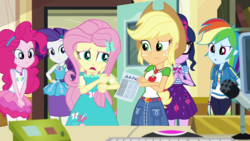 Size: 1280x720 | Tagged: safe, screencap, applejack, fluttershy, pinkie pie, rainbow dash, rarity, sci-twi, twilight sparkle, equestria girls, equestria girls series, schedule swap, spoiler:eqg series (season 2), geode of fauna, geode of shielding, geode of sugar bombs, geode of super speed, geode of super strength, geode of telekinesis, humane five, humane six, magical geodes