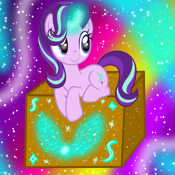 Size: 1000x1000 | Tagged: artist:famousmari5, box, editor:katya, magic, pony, safe, starlight glimmer, unicorn, vector, wings