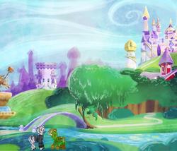 Size: 2333x2000 | Tagged: safe, artist:ryuredwings, oc, oc:inkstain, oc:tairso, earth pony, pony, zebra, beautiful, canterlot, canterlot castle, detailed, detailed background, palomino, scenery, zebra oc