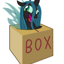 Size: 1000x1000 | Tagged: safe, artist:cheezedoodle96, queen chrysalis, changeling, changeling queen, box, changeling in a box, crazylis, female, hole, insanity, vector