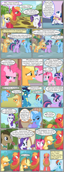 Size: 600x1592 | Tagged: angry, annoyed, apple, applejack, artist:dragontrainer13, artist:newbiespud, background pony, bendy straw, big macintosh, bowtie, cloak, clothes, collaboration, comic, comic:friendship is dragons, crossed arms, derpy hooves, dialogue, doctor whooves, drinking, earth pony, edited screencap, eyes closed, female, food, freckles, goggles, grin, hat, looking back, looking down, looking up, male, mare, nervous, nervous grin, pegasus, pinkie pie, pony, rainbow dash, raised hoof, rarity, safe, screencap, screencap comic, shining armor, sitting, smiling, soarin', stallion, straw in mouth, suspicious, time turner, tree, trixie, twilight sparkle, unicorn, unicorn twilight, uniform, unshorn fetlocks, wonderbolts, wonderbolts uniform, yoke