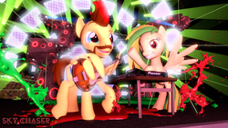 Size: 1280x720 | Tagged: 3d, artist:sky chaser, beard, facial hair, female, guitar, ink, male, mare, music, musical instrument, oc, oc:sky chaser, oc:wooden toaster, pegasus, pony, safe, song, source filmmaker, stage, stallion