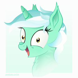 Size: 1500x1500 | Tagged: artist:andaluce, bust, derpibooru exclusive, excited, female, gradient background, happy, irrational exuberance, looking at you, lyra heartstrings, mare, neck fluff, open mouth, pony, portrait, safe, smiling, solo, unicorn, wide eyes