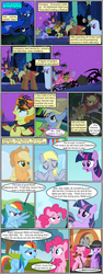 Size: 600x1592 | Tagged: safe, artist:dragontrainer13, artist:newbiespud, edit, edited screencap, screencap, applejack, carrot top, cherry berry, derpy hooves, golden harvest, pinkie pie, princess luna, rainbow dash, sunshower raindrops, twilight sparkle, alicorn, earth pony, pegasus, pony, spider, unicorn, comic:friendship is dragons, angry, animal costume, annoyed, background pony, bedsheet ghost, bee costume, bubble pipe, cauldron, clothes, collaboration, comic, costume, crossed arms, dancing, devil horns, dialogue, ethereal mane, eyes closed, female, hat, helmet, hoof shoes, horned helmet, male, mare, night, paper bag, scared, screencap comic, shrug, smiling, stallion, starry mane, stars, unamused, unicorn twilight, viking helmet
