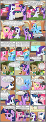 Size: 600x1592 | Tagged: angry, artist:dragontrainer13, artist:newbiespud, background pony, bowtie, cake, collaboration, comic, comic:friendship is dragons, dialogue, doctor whooves, drinking, earth pony, edited screencap, female, fluttershy, flying, food, grin, hair over one eye, hat, looking up, male, mare, nervous, nervous grin, pegasus, pinkie pie, pony, rainbow dash, raised hoof, rarity, saddle bag, safe, screencap, screencap comic, shining armor, smiling, stallion, suspicious, time turner, trixie, twilight sparkle, unicorn, unicorn twilight