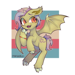 Size: 894x894 | Tagged: alternate hairstyle, artist:occultusion, bat ponified, bat pony, blushing, bracelet, claws, cute, fangs, flutterbat, fluttershy, flying, hoof hold, jewelry, lgbt headcanon, male, open mouth, pony, pride, race swap, raised hoof, redesign, safe, shyabates, shyabetes, solo, stallion, trans boy, trans boy pride flag, transgender