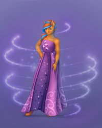 Size: 2500x3125 | Tagged: anthro, anthro oc, artist:kittytitikitty, clothes, costume conundrum, crossdressing, dress, equestria girls, equestria girls series, femboy, looking at you, male, oc, oc:cold front, oc only, princess costume, purple background, safe, simple background, spoiler:eqg series (season 2), unguligrade anthro