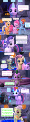 Size: 1920x7560 | Tagged: safe, artist:red4567, applejack, fluttershy, granny smith, pinkie pie, rainbow dash, rarity, spike, starlight glimmer, twilight sparkle, alicorn, dragon, pony, comic:i must regress, 3d, adult, adult spike, age progression, age regression, baby, comic, female, fountain of aging, fountain of youth, horn, mane six, older, older spike, source filmmaker, temple, tongue out, twilight sparkle (alicorn), winged spike, yay, young granny smith, younger