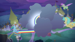 Size: 2200x1238 | Tagged: canterlot, cloud, female, flying, glow, mare, merry may, night, pegasus, pony, rainbow dash, rainbow trail, safe, screencap, spoiler:s09e17, sunshower raindrops, the summer sun setback, trio
