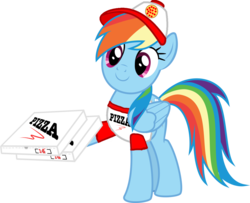 Size: 1263x1024 | Tagged: artist:kayman13, clothes, food, hat, holding, logo, pegasus, pizza, pizza box, pony, rainbow dash, safe, shirt, simple background, smiling, transparent background, vector