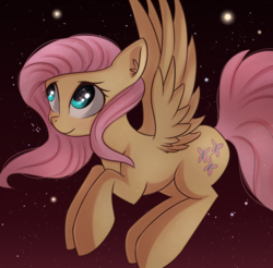 Size: 1395x1375 | Tagged: artist:autumnvoyage, eye reflection, female, fluttershy, looking away, looking up, mare, night, pegasus, pony, reflection, safe, smiling, solo, spread wings, stargazing, stars, wings