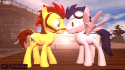 Size: 1280x720 | Tagged: 3d, artist:sky chaser, beard, canon x oc, facial hair, gay, goggles, male, oc, oc:sky chaser, pegasus, pony, safe, shipping, soarin', source filmmaker, stallion