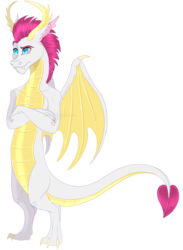Size: 712x975 | Tagged: artist:bijutsuyoukai, bipedal, crossed arms, dragon, dragon oc, oc, oc:burn out, oc only, parent:fizzle, parent:smolder, raised eyebrow, safe, simple background, solo, transparent background
