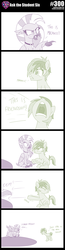 Size: 800x3060   Tagged: safe, artist:sintakhra, sandbar, silverstream, classical hippogriff, hippogriff, pony, tumblr:studentsix, 300, arrow, dialogue, eep, flying, hole, jewelry, necklace, pit, reality ensues, sandbar is not amused, shove, this is sparta, unamused, unsound effect, yelling