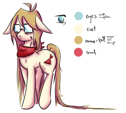 Size: 2872x2576 | Tagged: artist:coco-drillo, beige coat, brown mane, clothes, colourful, earth pony, glasses, long mane, long tail, oc, oc:cocodrillo, pony, ponysona, reference sheet, safe, scar, scarf, solo