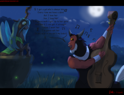 Size: 3300x2550 | Tagged: artist:greenbrothersart, centaur, changeling, changeling queen, chrysirek, cute, cutealis, double bass, duo, female, full moon, lord tirek, male, moon, musical instrument, music notes, night, nose piercing, nose ring, piercing, queen chrysalis, safe, serenade, shipping, singing, straight, tirebetes