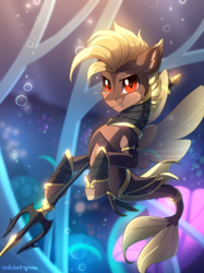 Size: 806x1080 | Tagged: armor, artist:redchetgreen, bubble, fins, grin, looking at you, male, oc, oc only, red eyes, safe, seapony (g4), slit eyes, smiling, solo, trident, underwater, water, weapon