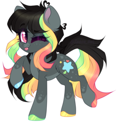 Size: 5000x5000 | Tagged: safe, artist:pidge--podge, oc, earth pony, pony, absurd resolution, female, mare, one eye closed, pale belly, simple background, snip (coat marking), socks (coat marking), solo, tongue out, transparent background, wink