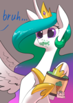 Size: 2480x3508 | Tagged: alicorn, artist:underpable, bruh, female, food, ice cream, implied princess luna, jewelry, majestic as fuck, mare, messy eating, note, offscreen character, pony, princess celestia, regalia, safe, spread wings, text, this will end in tears, this will end in tears and/or death, wingboner, wings