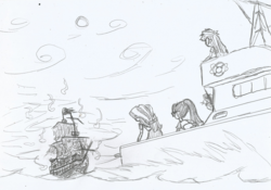 Size: 2121x1485 | Tagged: applejack, artist:newman134, boat, chase, equestria girls, fog, ghost ship, monochrome, ocean, rainbow dash, safe, sci-twi, ship, sunset shimmer, twilight sparkle