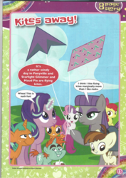 Size: 826x1169 | Tagged: apple bloom, comic, cutie mark crusaders, featherweight, kite, kites away!, magazine scan, maud pie, pony, safe, scootaloo, snails, snips, starlight glimmer, sweetie belle