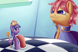 Size: 3000x2000 | Tagged: alicorn, artist:theunconsistentone, cape, chess, chessboard, clothes, crown, jewelry, oc, pony, regalia, safe, scepter, twilight scepter, twilight sparkle, twilight sparkle (alicorn)