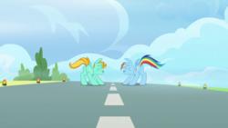 Size: 1280x720 | Tagged: safe, screencap, lightning dust, rainbow dash, pegasus, pony, wonderbolts academy, female, mare, runway